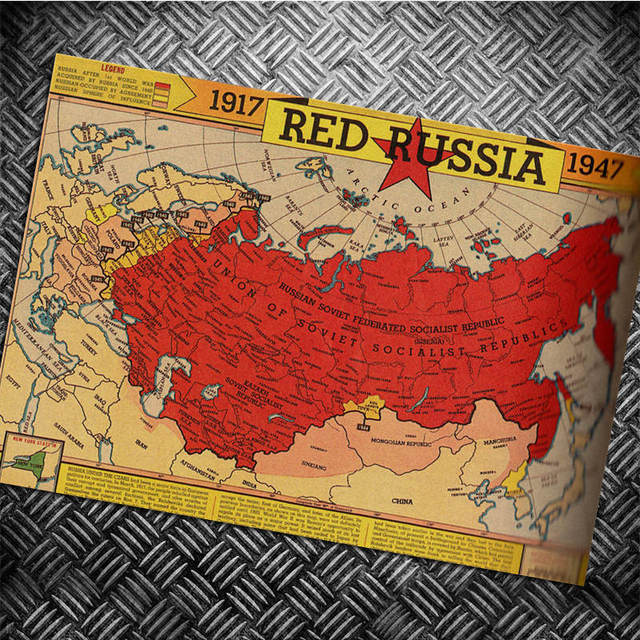 Russia Map Vintage Poster Movie Retro Poster Kraft Paper Wall
