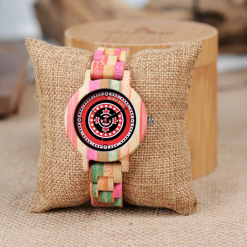 BOBO BIRD Wooden Bamboo Women Watches Colorful Wood Case and Band ladies Quartz Watch Gift for Girl bobo bird women wooden bamboo watches ladies quartz watch gift for girl in wood box custom logo