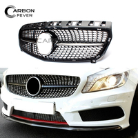 Auto Racing Grills For Mercedes A Class W176 A45 AMG 2013 2015 Pre LCL Black Sliver Star Grille
