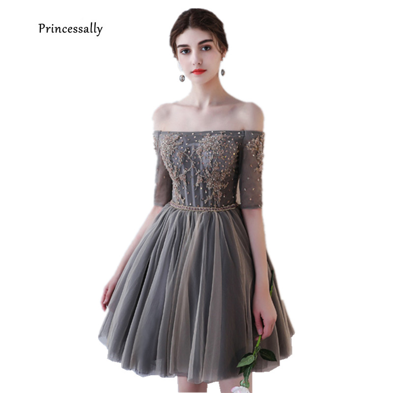 New Grey Evening Dress Short Boat Neck Half Sleeve Beading Embroidery Vintage Elegant Formal Prom Graduation Gown Abendkleider