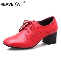 REAVE CAT Spring summer Ladies shoes Woman Low heel shoes Square Toe Patent leather Lace up Casual shoes Square Heel A1049