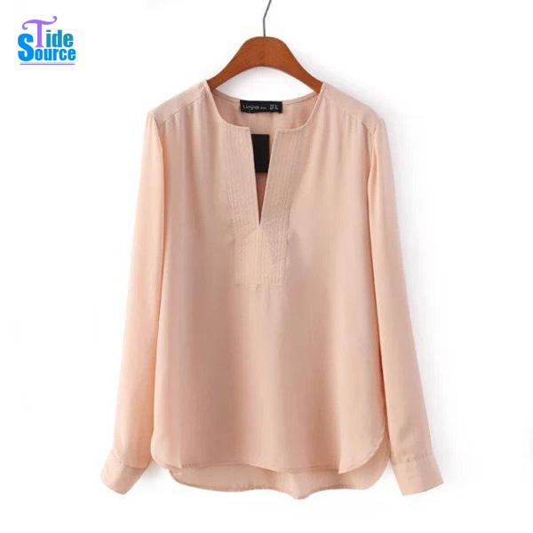 031a4f82955c1d New Spring Blusas Femininas 2017 Fashion Solid Slim Casual Chiffon Blouse  Long Sleeve V Neck Pullover Shirt Women Clothing-in Blouses & Shirts from  Women's ...