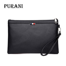 PURANI Black Purses Mens Clutch Bag Casual Handbag PU Leather Men Wallet Simple Man Clutch Purse Brand Big Capacity Men Wallets(China)