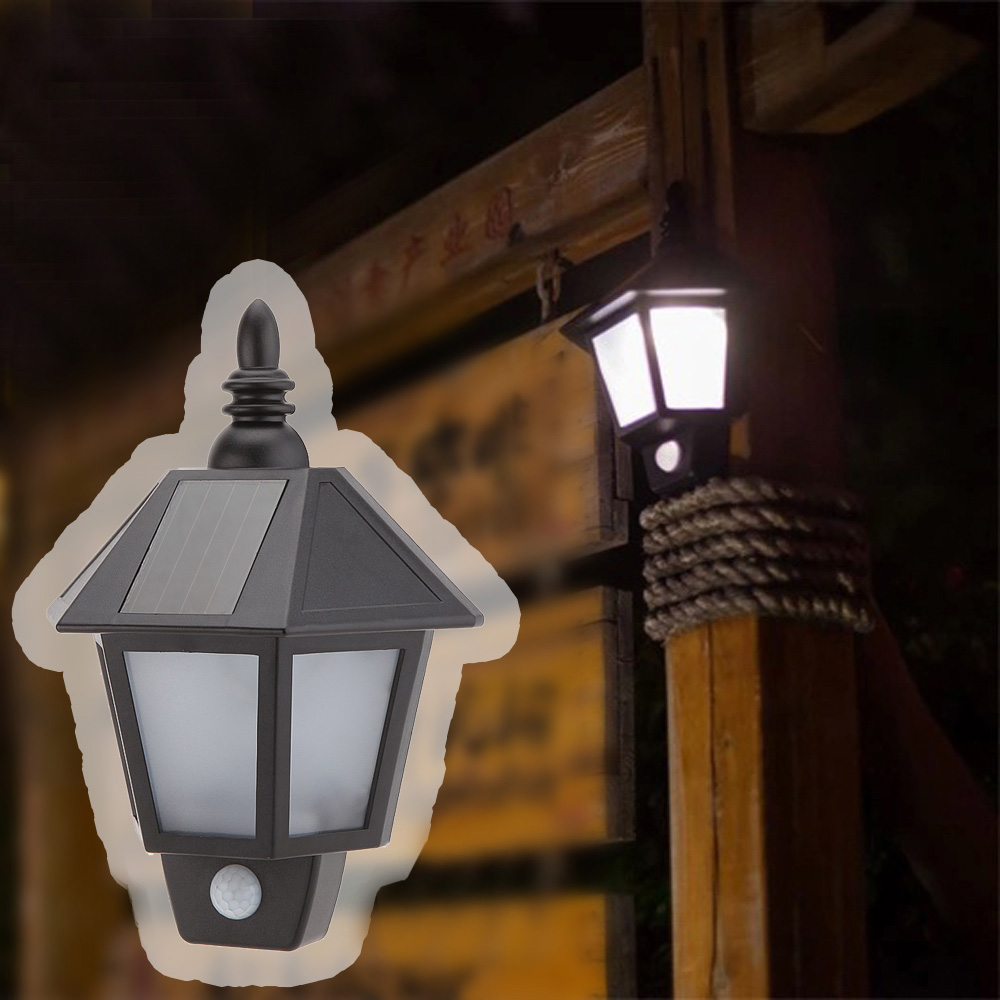 1pc Solar Power LED PIR Motion Sensor Light Outdoor Garden Wall Lamp ...