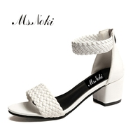 Ms Noki Thick Heel Sandals Women 2017 Summer Comfortable Med Heels Open Toe Fashion Pumps Shoes