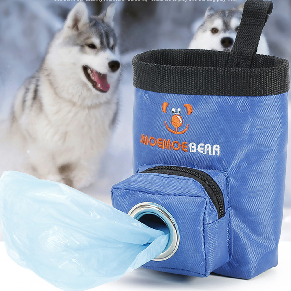 Oxford Pet Dog Feeding Bag With Garbage Bags Portable Outdoor Pet Dog Treat Pouch Puppy Snack Reward Waist Bag Pockets Dog Bowl
