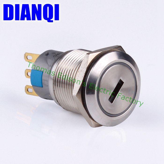 19mm Metal Waterproof brass  Key Push Button Switch latching 2 position 1NO 1NC press button 19YS,2D.KB