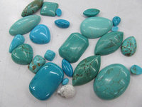 Assortment Turquoise Cabochon Gemstone Round Oval Rectangle Heart Oval Round Drop Evil Beads 50pcs 4 30mm