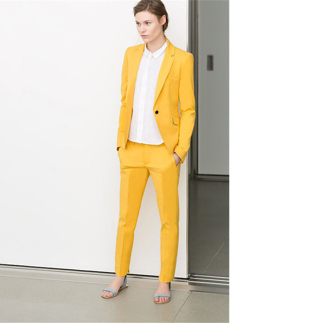 c0a5a2cbd3f5 Yellow Womens Business Suits Women Evening 2 Piece Pant Suits Female Office  Uniform One Button Ladies Formal Trouser Suits
