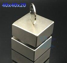2 pcs Néodyme aimant 40x40x20mm gallium métal super forte aimants 40*40*20 carré Neodimio aimant permanent puissant aimants