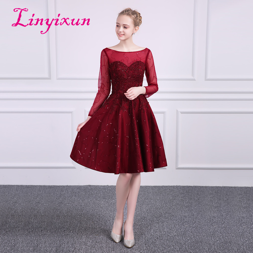 Linyixun New Red A-line Homecoming Dresses 2018 Scoop Long Sleeves Appliques Prom Dresses With Beaded Short Graduation Dress