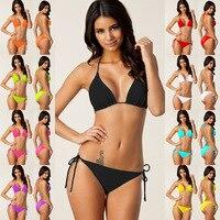 Summer Sexy Swimsuit Thong Halter Bikini 2017 Plus Size Beach Wear Women Swimwear Push Up Padded