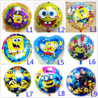 Wholesale 200pcs Lot 18inch Spongebob Balloon Minion Despicable Me Ballon Foil Baloons Air Baloes Helio Globos