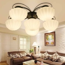 BOKT White Glass Lampshade Ceiling Lights Lamp Fixture E27 Bulb Black Iron Modern Living Room Bedroom Light
