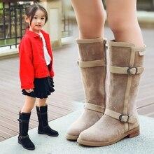 Gemlon Children's Girls Boots 2018 New Autumn Winter Mid-calf Flock Buckles Boots Winter Children's Boots Princess Kids Shoes