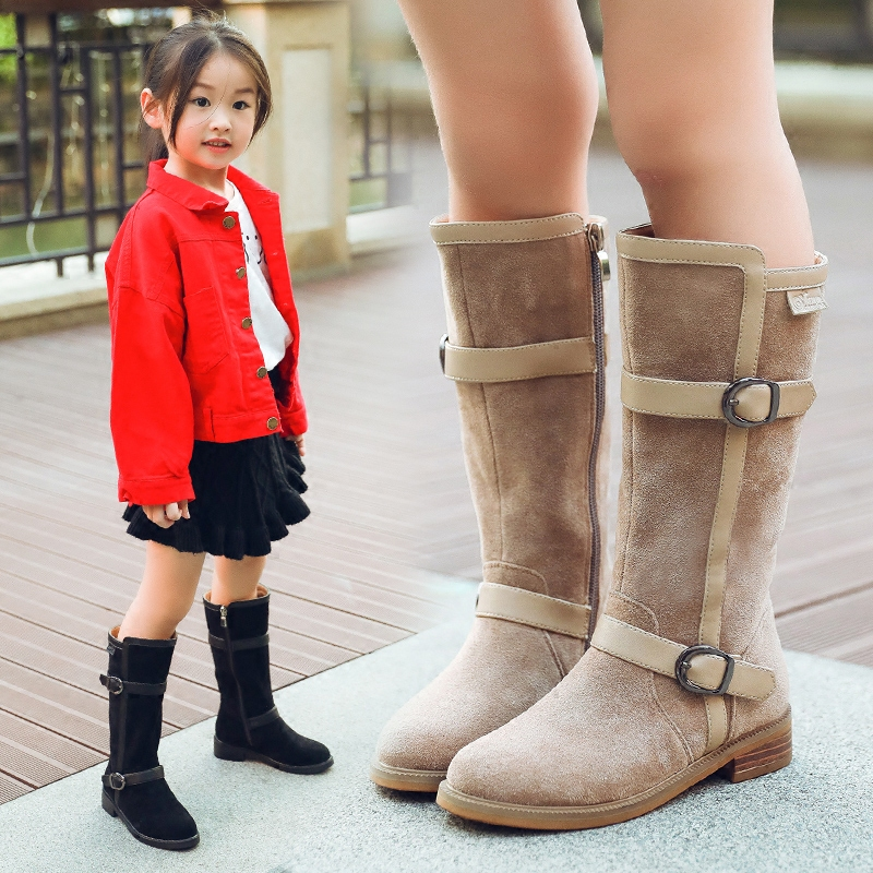 Gemlon Children's Girls Boots 2018 New Autumn Winter Mid calf Flock Buckles Boots Winter Children's Boots Princess Kids Shoes
