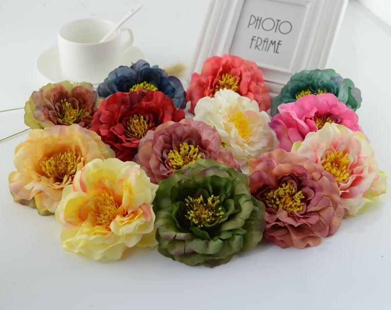 European style silk peony head artificial flowers for home wedding car decorative Bride bouquet crafts manual wreath fake flower