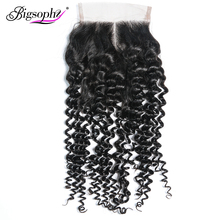 Bigsophy Malaysian Kinky Curly Closure 4*4 Human Remy Hair Lace With Baby Free Middle/Three/Part