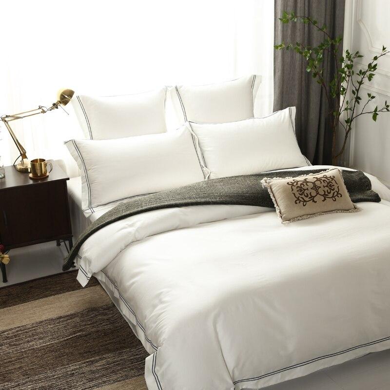 Hotel Luxus Einfarbig Bettbezug Ausgestattet Bett blatt 600TC Ägyptischer Baumwolle Premium Ultra Weiche Bettwäsche set Königin König größe 4/6 Pc-in Bettwäsche-Sets aus Heim und Garten bei  Gruppe 2