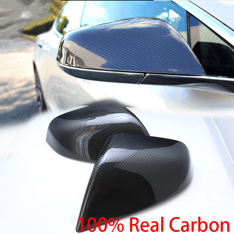 100 Real Carbon Fiber Shell sport style Side Mirror Cover Cap for Tesla model S 2014