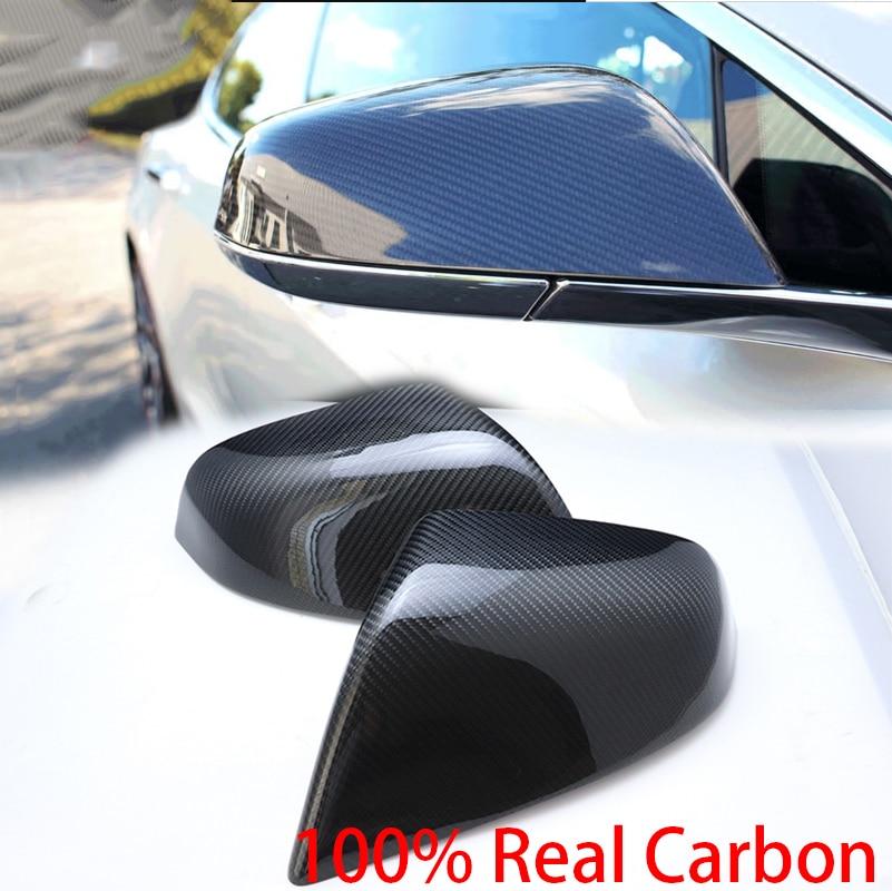 100% Réel Coque En Fiber De Carbone sport style Side Mirror Cover Cap pour Tesla model S 2014 2015 20016 2017 2018 car styling