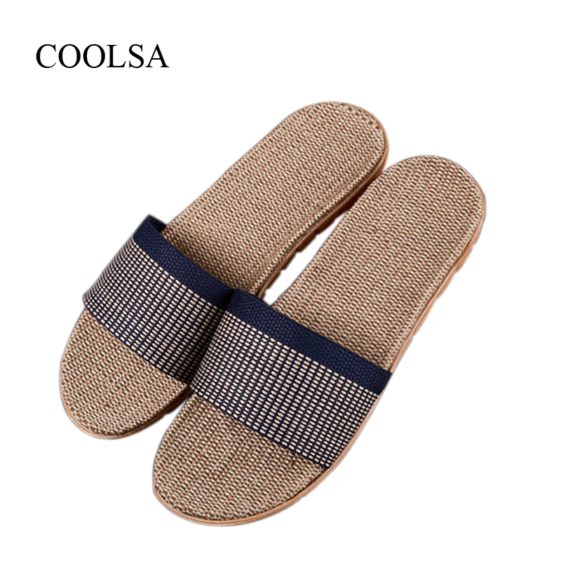 COOLSA Men's Breathable Non-slip Linen Slippers Indoor Canvas Flip Flops Men's Flat Hemp Slides Flax Flip Flops Home Sandals Hot coolsa women s summer flat non slip linen slippers indoor breathable flip flops women s brand stripe flax slippers women slides