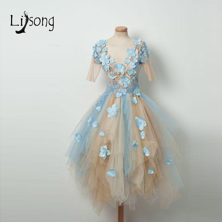 Jolies robes de soirée fleur 3D 2018 couleur mélangée élégante Tulle robes de soirée manches courtes longueur de thé Abendkleider robes de soirée