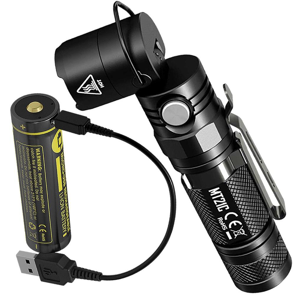 2019 nitecore MT21C usb ポート充電式 18650 バッテリー 90 度調節可能な Led 懐中電灯屋外 EDC トーチ送料無料  グループ上の ライト & 照明 からの LED フラッシュライト の中 1