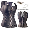 Steampunk Faux Leather Buckle-up Waist Trainer Corset Bustier Korsett Steel Boned Body Shapewear Overbust Tops Espartilho