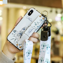 Fashion Flower Lanyard Stand Phone Case For iphone XS MAX Back Cover Capa Shockproof Shell iPhone