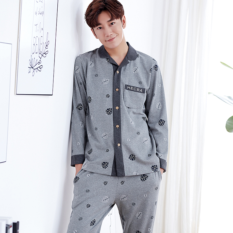 New Arrival Spring And Autumn Knitted Cotton Mens Pajamas Set Long Sleeve Turn-down Collar Print Letter Male Sleepwear L-XXXL