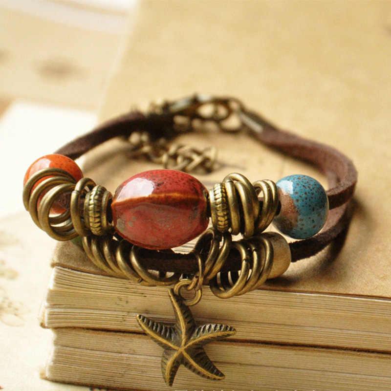 Керамические бусины браслеты из морских звезд для женщин и мужчин кожаные манжеты Браслеты Регулируемая цепь браслеты богемные ювелирные аксессуары
