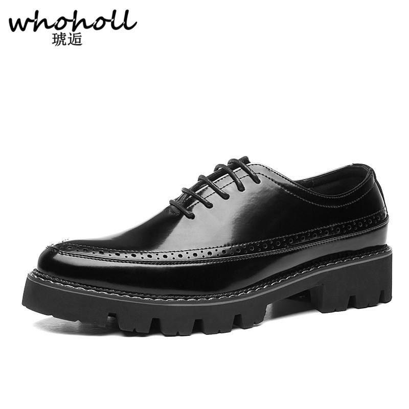 WHOHOLL Для Мужчин's Wingtip Brogue официальная обувь Для мужчин кожа 2018 г. осенние Свадебные офисные Повседневное туфли на шнуровке с принтом обувь