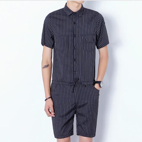 2016 Harajuku Gótico Revolución Estética Mamelucos Para Los Hombres Mens Rayas Mono Harem Cargo Trajes de Verano Pantalones Casuales Hombres