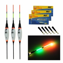 Fishing Float LED Electric Light + Battery Deep Water Tackle 3pcs Bobber Gear With electrons
