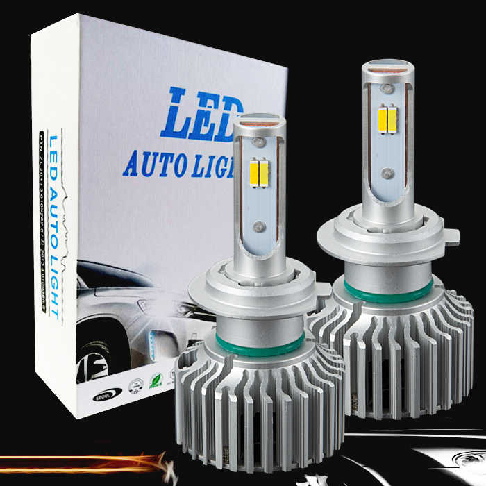 PAMPSEE Car Tricolor 3Color LED Headlight T5 H1 H4 H7 H11 HB4 60W 8000LM 3000K 4300K 6000K Yellow White Dual Two Color LED Bulbs