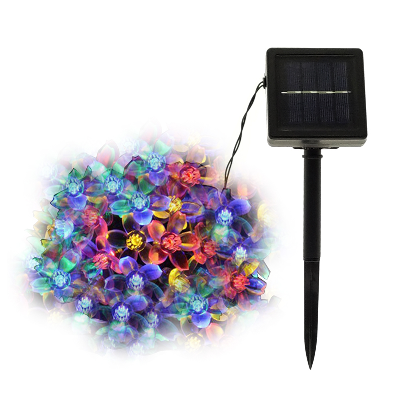 New Solar String Lights 50 LED Flower Waterproof String Fairy Christmas Tree Light Party Wedding New Year Decoration Garland ...