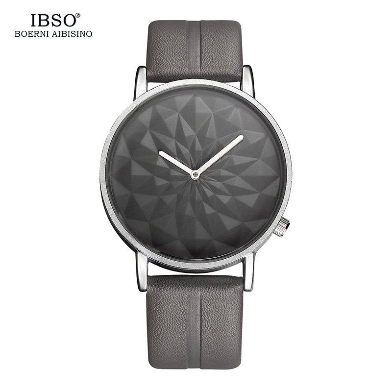 IBSO Brand 3D Rhombic Dial Mens Watches 2018 Fashion Leather Strap Quartz Watch Men Casual Male Clock Relogio Masculino ibso outdoor leisure sports watches for men genuine leather band quartz mens watches 2018 fashion waterproof relogio masculino