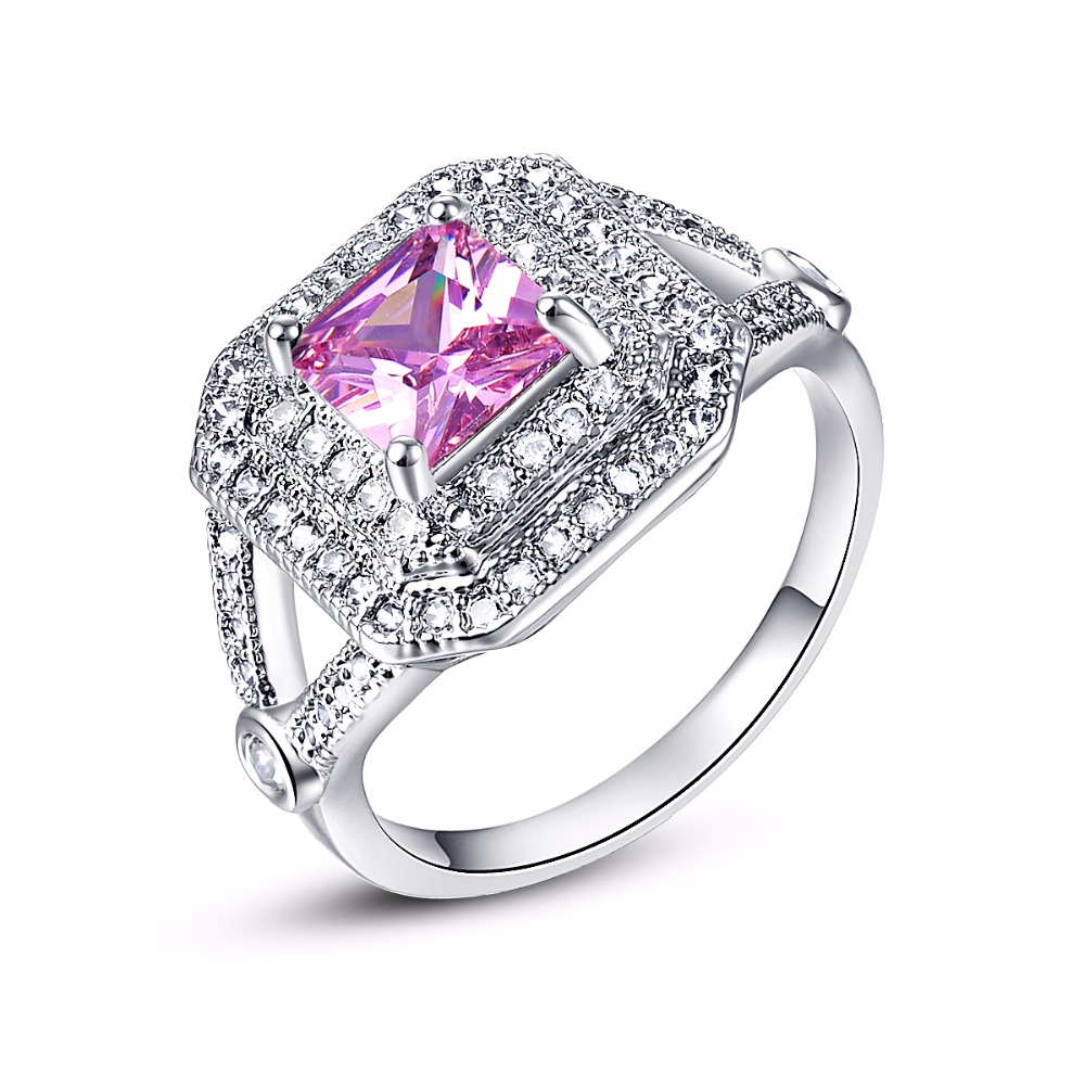 New Romantic Princess Cut Pink Stone Silver Ring Vintage Crystal Zircon  Wedding Jewelry Promise Engagement Rings Size 6 7 8 9 10