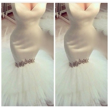 White Sweetheart Mermaid Wedding Dresses Beaded Rhinestone Bridal Gowns Slim Custom Corset Back Slim 2019 Formal Tulle Skirt