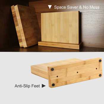 Strongly Magnetic Bamboo Kitchen Knife Block Double Side Magnet Scissors Knife Organizer Stand Wooden Knife Holder Accessories