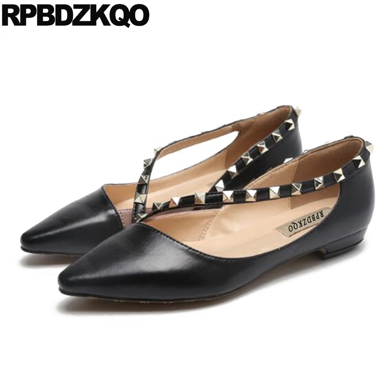 Metal Pointed Toe Designer Shoes China Stud Slip On Women Factory Direct Chinese Rivet Flats Party Black Fashion Latest Spring odetina 2017 new designer lace up ballerina flats fashion women spring pointed toe shoes ladies cross straps soft flats non slip