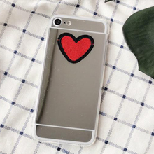 LOVECOM Fashion For Huawei P8 P9 Lite P10 Honor 7 8 Mate 7 8 9 DIY Stitches Red Love Heart Silver Mirror Soft TPU Phone Cases