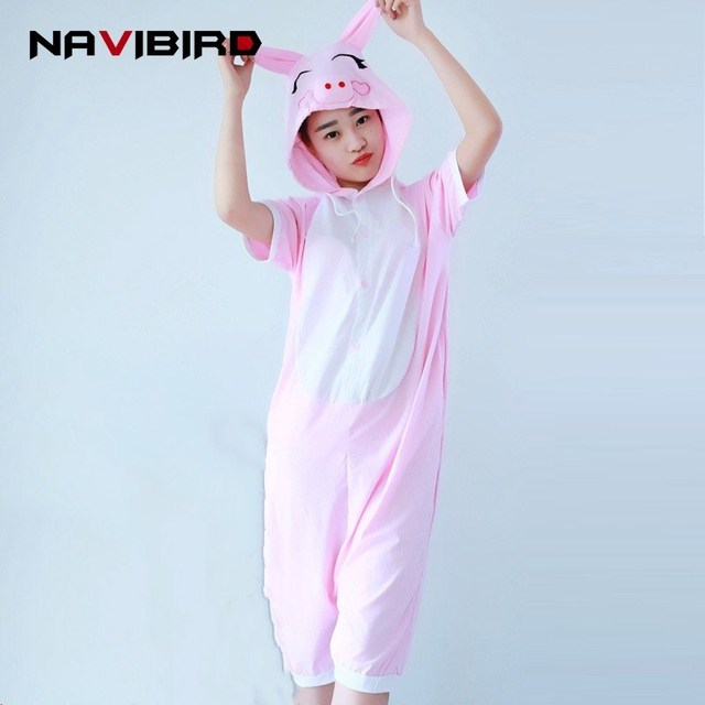 d4afd38b09db Adult Cotton Pink Pig Onesies Pajama 2018 Summer Short Kigurumi For Women  Animal Character Onesie Women Overalls Jumpsuit Pyjama