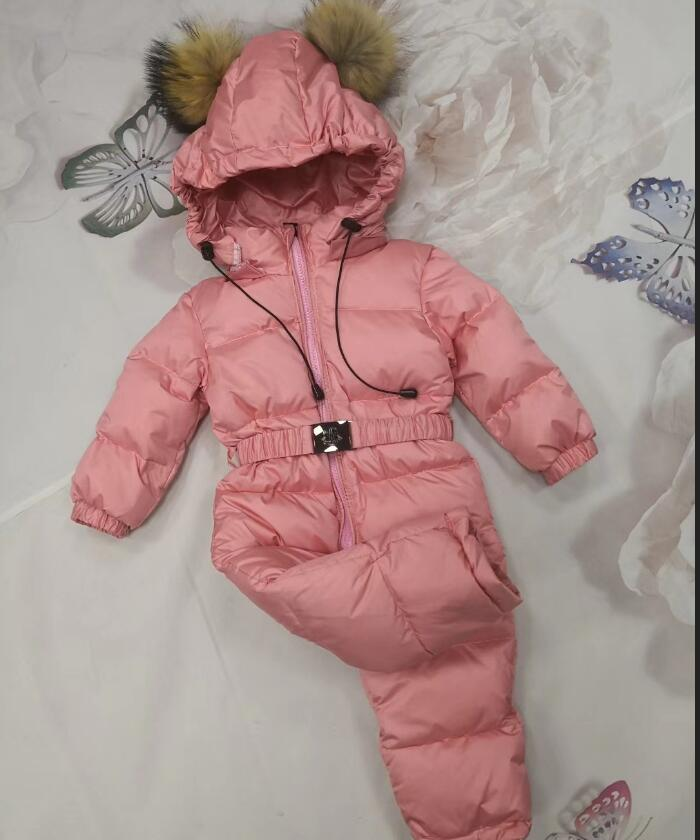2018 Winter down jacket Baby duck down suit outerwear Fur Hooded children's Snowsuit down coats Child jumpsuit romper ski suit женская куртка oem pe3218 55 suit coats