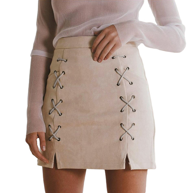 Women Lace Up Suede Leather Pencil Skirt High Waist Cross Zip Back Split  Bodycon Saia Retro Harajuku Preppy Autumn Winter Skirt 48daaf34f7b3