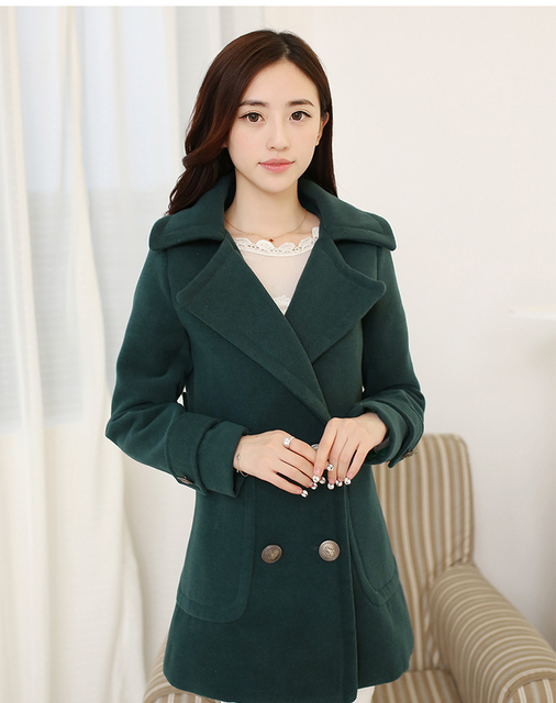 2015 New Sale Special Offer Regular Single Breasted Trench  Winter Buckle Large Lapel Loose Female Wool Coat Outerwear