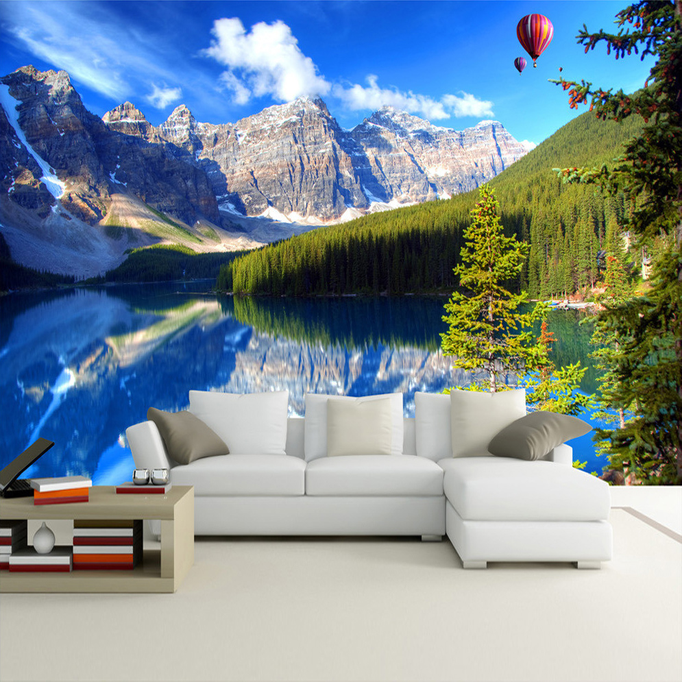 Custom Mural 3D Wall Papers Home Decor Snow Mountain Lake Nature Landscape Photography Background Wall Painting Photo Wallpaper