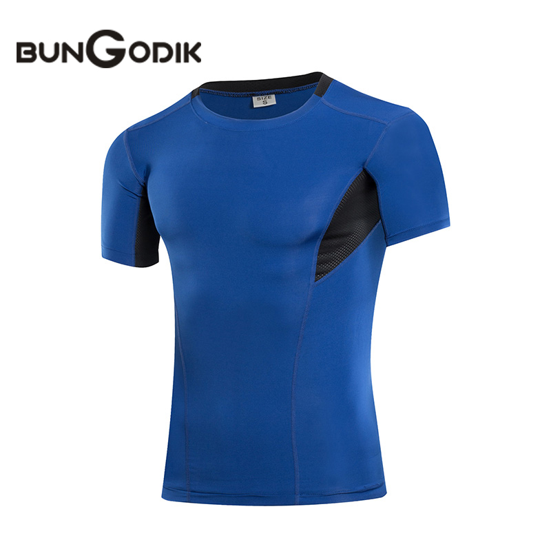 Bungodik Summer Compression T Shirt Men s Sport Shirt Bodybuilding Sports Tights Baselayer Fit Running Fitness