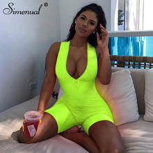 Simenual Fitness Sporty Active Wear Sleeveless Playsuit Athleisure Neon Color Rompers Women Zipper Biker Bodybuilding Jumpsuits